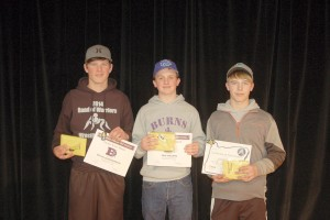 Wrestling special award winners (L-R) Evan Gunderson, Ian Maupin, Dallon Higgins. Not pictured: Jonathan Schmeck.