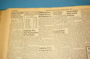 William Southam's grandson, Rick Bird, found his obituary in the July 25, 1941, issue of the Burns Times-Herald. (Photo by RANDY PARKS)