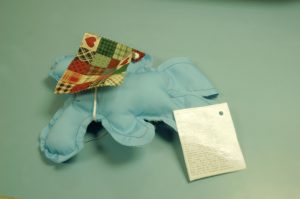 This 'Burden Bunny' was made by a disabled woman to offer encouragement to the veterans.