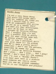 This poem came attached to the 'Burden Bunny'