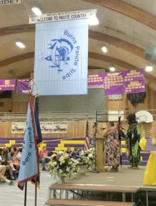 Former Burns Paiute Tribal Chair Charlotte Roderique shared the tribe's history with Burns High School (BHS) students during the flag dedication assembly that was held June 7 in the BHS gym. (Submitted photo)